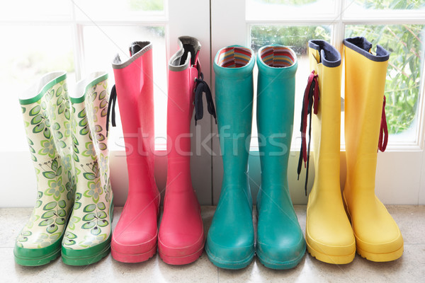 Stock photo: A display of colorful rain boots