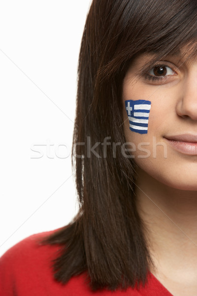 Young Female Sports Fan With Greek Flag Painted On Face Stock photo © monkey_business