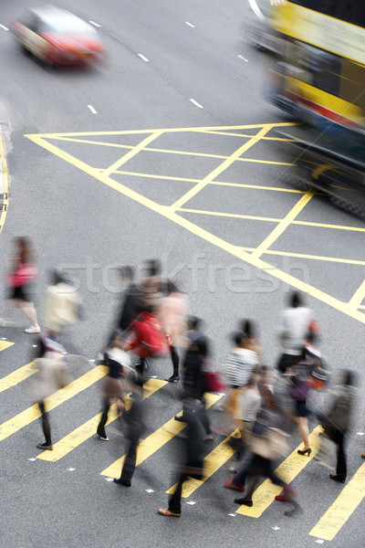 Overhead View Of Commuters Crossing Busy Hong Kong Street Stock photo © monkey_business