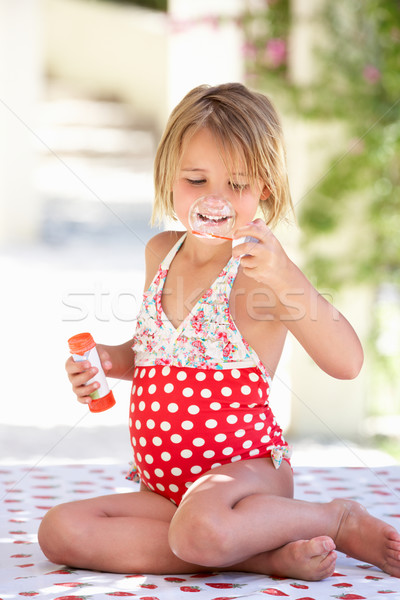 Fille maillot de bain jardin été Photo stock © monkey_business