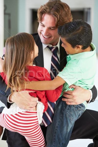 Bambini saluto padre ritorno lavoro amore Foto d'archivio © monkey_business