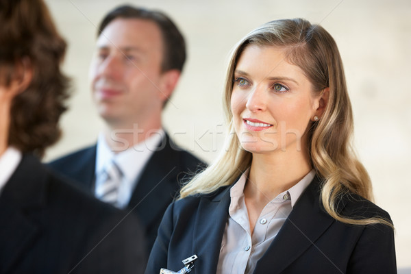 Сток-фото: деловая · женщина · прослушивании · оратора · конференции · бизнеса · женщину