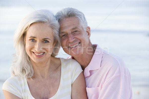 Photo stock: Couple · plage · souriant · marche · vacances · vacances