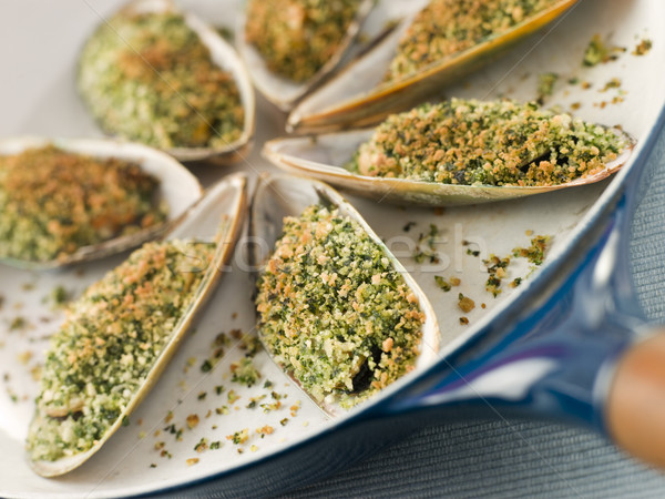 Green Lip Mussel with a Provencale Herb Crust Stock photo © monkey_business