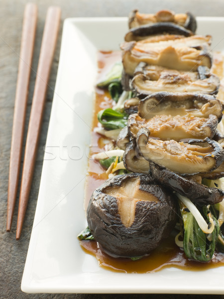 Stock photo: Fried Shitake Mushrooms with Shoyu Pac Choi and Bean sprouts