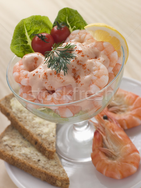 Prawn Cocktail in a glass with Brown Bread Stock photo © monkey_business