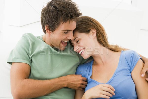 Stockfoto: Paar · woonkamer · glimlachend · vrouw · gelukkig · paren