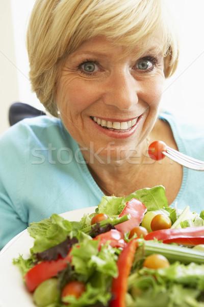 Foto stock: Alimentación · saludable · ensalada · mujer · retrato · tenedor
