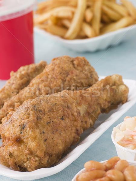 Сток-фото: южный · жареная · курица · фри · бобов · капустный · салат