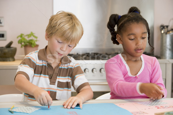 Two Young Friends Drawing Pictures Stock photo © monkey_business