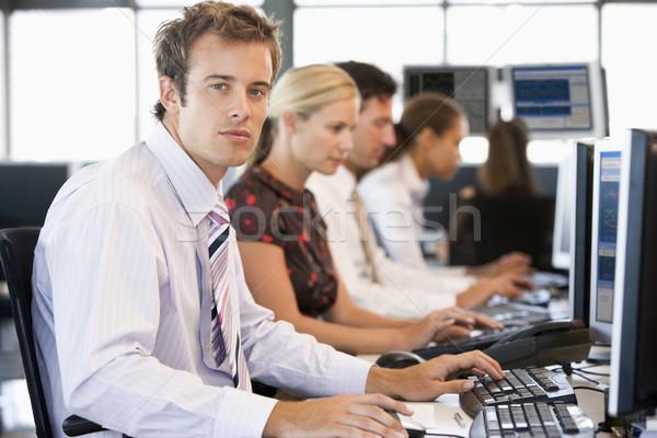 Foto stock: Stock · de · trabajo · computadoras · ordenador · mujeres · empresario