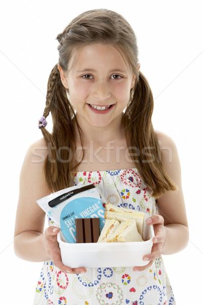 Stúdió portré mosolyog lány tart ételhordó doboz Stock fotó © monkey_business