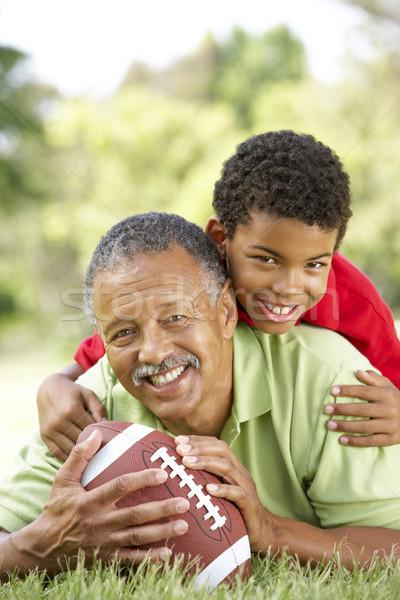 Stockfoto: Grootvader · kleinzoon · park · amerikaanse · voetbal · man