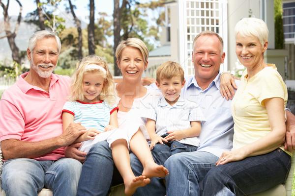 Foto stock: Família · grande · relaxante · jardim · família · crianças · homem