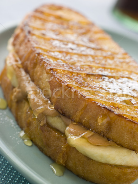Peanut Butter And Banana Eggy Bread Sandwich With Syrup Stock photo © monkey_business