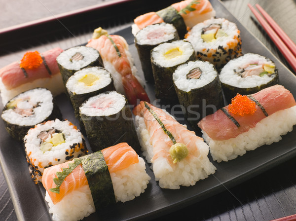Selection of Seafood and Vegetable Sushi on a Tray Stock photo © monkey_business