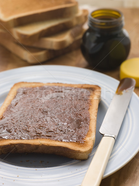 ストックフォト: スライス · トースト · 酵母 · パン · プレート · ナイフ