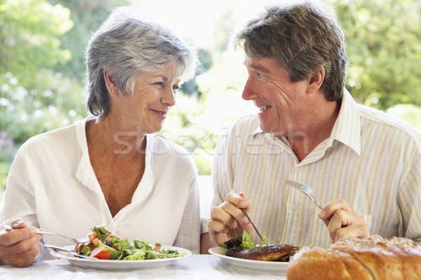 Stockfoto: Paar · eten · maaltijd · vrouw · voedsel
