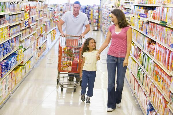 Stockfoto: Familie · kruidenier · winkelen · supermarkt · man · gelukkig