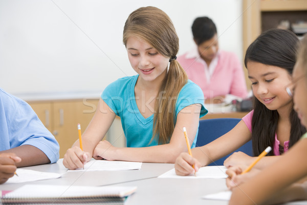 Stock photo: Elementary school pupils in classroom