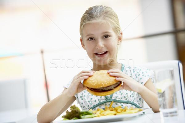 Lány eszik ebéd kávézó étel boldog Stock fotó © monkey_business