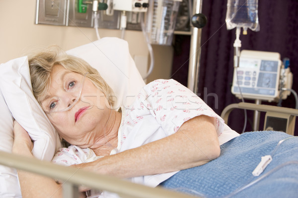 Senior Woman Lying In Hospital Bed Stock photo © monkey_business