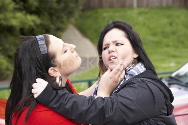 Kettő fiatal nők harcol utca férfiak városi Stock fotó © monkey_business