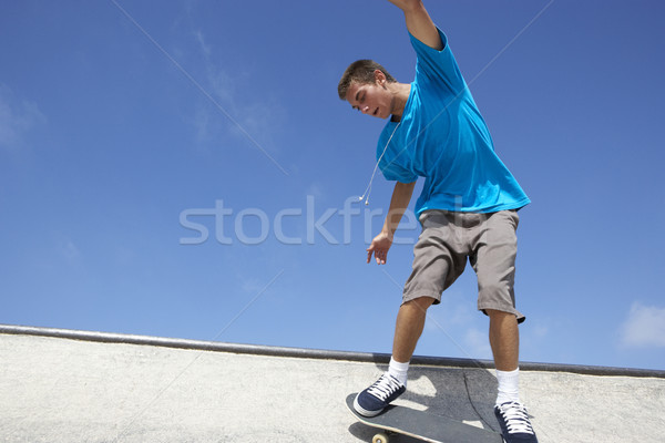 Skateboard park teen cool persoon Stockfoto © monkey_business