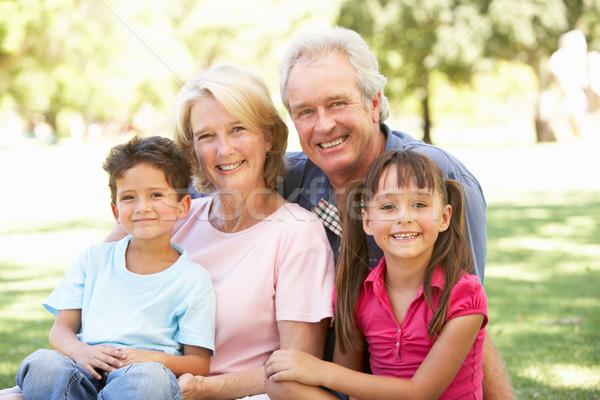 Nagyszülők unokák élvezi nap park nő Stock fotó © monkey_business