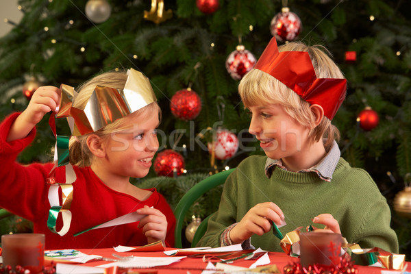 Children Making Christmas Decorations Together Stock photo © monkey_business