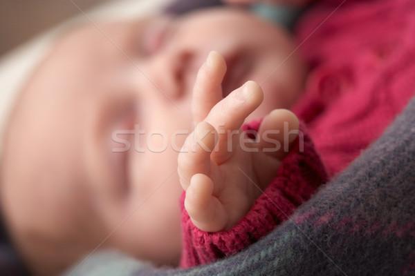 Mão adormecido recém-nascido menina Foto stock © monkey_business