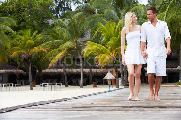 Сток-фото: пару · ходьбе · пляж · счастливым · морем