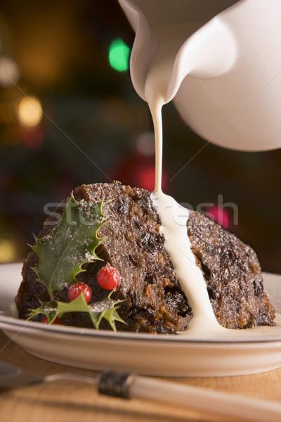 Stok fotoğraf: Noel · puding · krem · gıda
