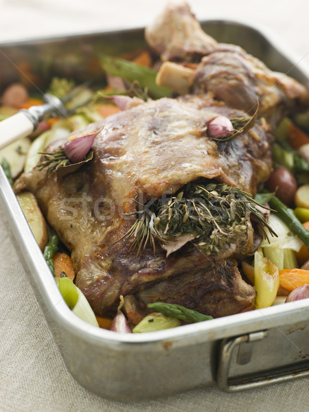 Slow Roasted Shoulder of Lamb Stuffed with Herbs de Provence Roa Stock photo © monkey_business