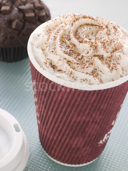 Taza chocolate caliente doble chocolate muffin mesa Foto stock © monkey_business