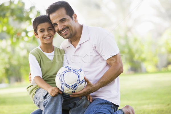 Father and son playing football Stock photo © monkey_business