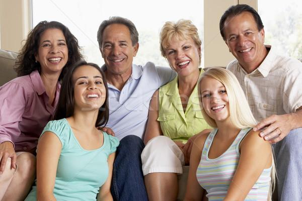 Foto d'archivio: Due · famiglie · insieme · famiglia · home · uomini