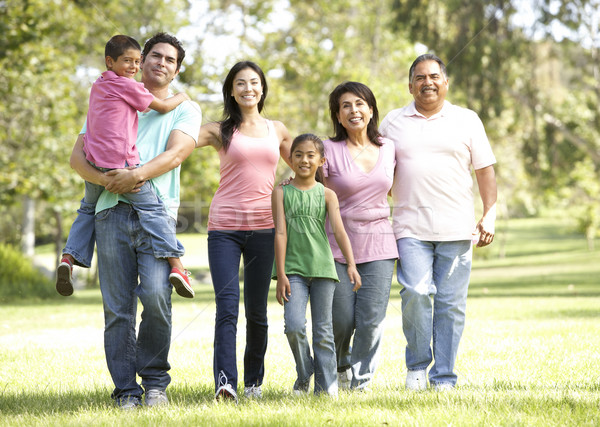 Uitgebreide familie groep lopen park kind tuin Stockfoto © monkey_business