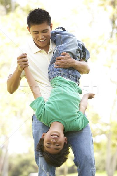 Foto stock: Filho · pai · parque · família · crianças · feliz · criança
