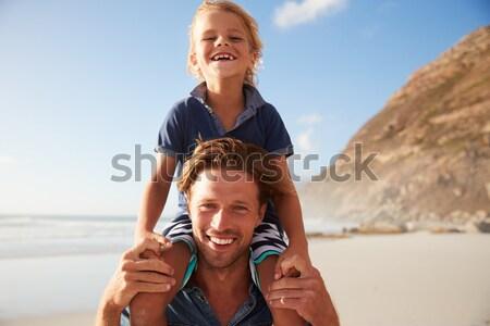Foto d'archivio: Due · ragazzi · adolescenti · giocare · rugby · spiaggia · insieme