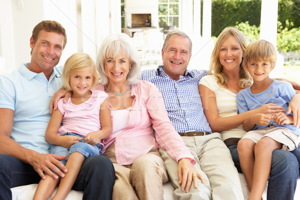 Extended Family Relaxing Together On Sofa Stock photo © monkey_business