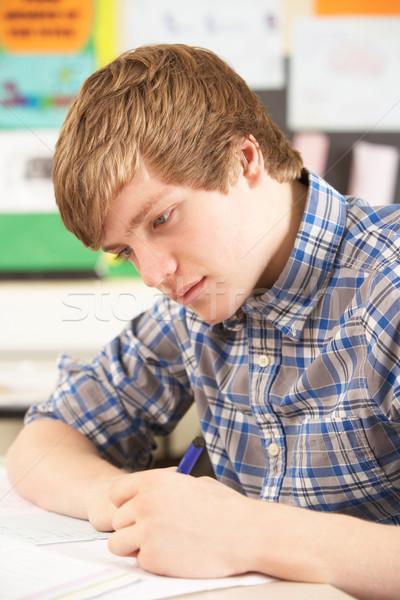 Stock foto: Männlich · jugendlich · Studenten · Studium · Klassenzimmer · glücklich