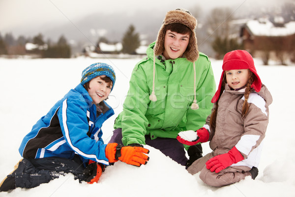 Group Of Children Building Snowman Wearing Woolly Hats Stock photo © monkey_business