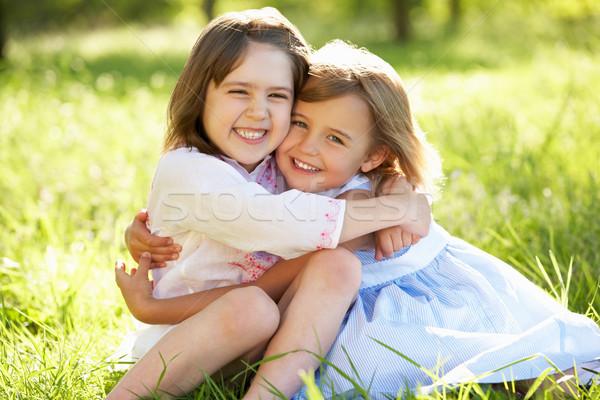 Due giovani ragazze uno un altro abbraccio Foto d'archivio © monkey_business