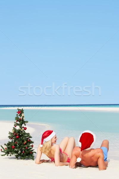 Pár ül tengerpart karácsonyfa sapkák nő Stock fotó © monkey_business