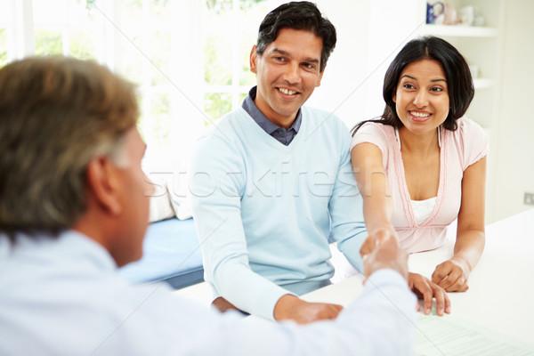 Indian para spotkanie doradca finansowy domu kobieta Zdjęcia stock © monkey_business