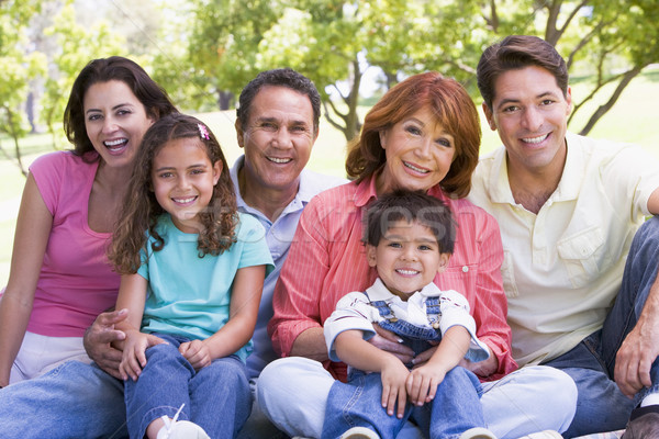 Extended family sitting outdoors smiling Stock photo © monkey_business