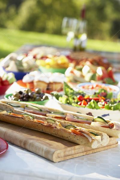 фреска столовой продовольствие из таблице вино Сток-фото © monkey_business