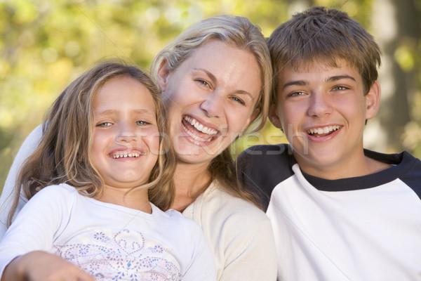 Stok fotoğraf: Kadın · iki · genç · çocuklar · açık · havada · gülme