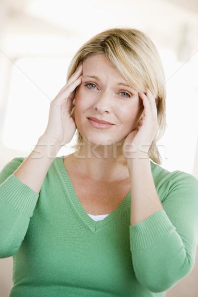 Stock fotó: Nő · fejfájás · egészség · fájdalom · beteg · szín